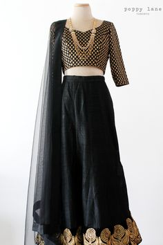 Simple Black Raw Silk Lengha, Black and Gold Chanderi Blouse. Shop now at poppylane.ca