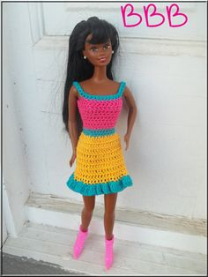 barbie hexy skirt crochet | Crochet Barbie Clothes Turquoise Hot Pink Yellow Spaghetti Strap Dress