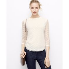Ann Taylor Dotted Mesh Top