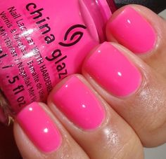China glaze - heat index esmalte importados, beleza, esmalte de unha china glaze Cute Pink Nails, Love Nails, How To Do Nails, Pretty Nails, Pink Summer Nails, Manicure Rose, Manicure And Pedicure, Gel Nails, Nail Polishes