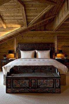 Guest room at The Alpina Gstaad, Switzerland, designed by HBA/Hirsch Bedner Associates