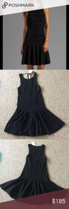 New Alice + Olivia Cecile slim fit dropwaist dress New with tags Alice + Olivia Slim fit drop waist dress, the model is Cecile in size M. It is black with pointelle details throughout as seen on the covershot, and a tan lining. The dress is soft and stretchy. It retailed for $597, get it at a great deal here! Alice + Olivia Dresses