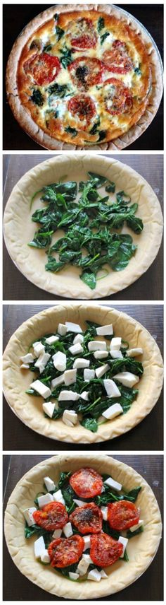 Roasted Tomato Spinach Mozzarella Quiche Recipe