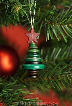 How to Make a Button Christmas Tree Stack Ornament - Crafty Morning