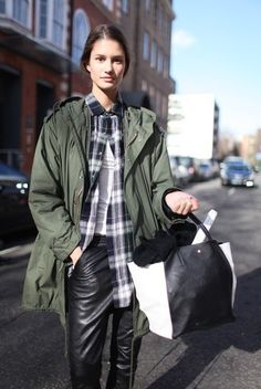 Women's Green Parka, Navy and Green Plaid Dress Shirt, White Sleeveless Top, Black Leather Pajama Pants