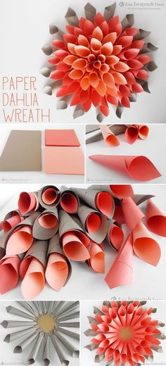 paper dahlia wreath diy wedding ideas
