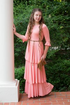 Modest Fashion | Modest Bridesmaid Dresses | Peach Ruffle Darling Dress by Dainty Jewell's