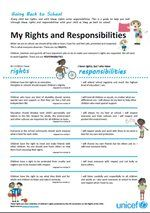 My Back to School Charter: Rights and Responsibilities | UNICEF Australia  Use this great resource as a guide to talking to your children about their rights and responsibilities, as they get ready to go back to school!     #backtoschool #rights #responsibilities