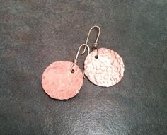 Copper Hammered Disk Earrings with Brass by YMBlueOriginals, $25.00