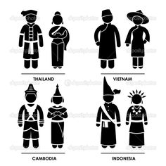 Southeast Asia - Thailand Vietnam Cambodia Indonesia Man Woman National Traditional Costume Dress Clothing Icon Symbol Sign Pictogram — Stock Illustration #13242433