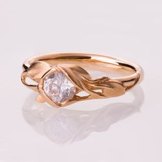 Leaves Engagement Ring No. 6  14K Rose Gold engagement ring