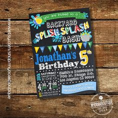 Splish Splash Party Bash Chalkboard Invitation Digital Files ONLY By StylishShapes On Etsy Listing 199586270 Pa