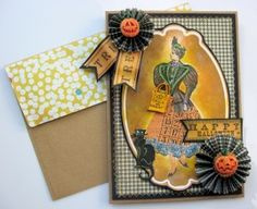Crafty Secrets Trick or Treat Card - Kathy by Design using CD 4 Creating with Vintage Halloween. She used one of the altered witches, a cat, paper and cut the words for the banners from bingo cards on the CD. See more photos and details on her blog post.