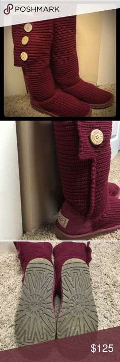Crocheted uggs Only worn once. Red crocheted tall uggs. Good as new. http://www.ugg.com/women-boots-classic-boots/classic-cardy/1016555.html?dwvar_1016555_color=BLK#start=7&cgid=women-boots UGG Shoes Winter & Rain Boots