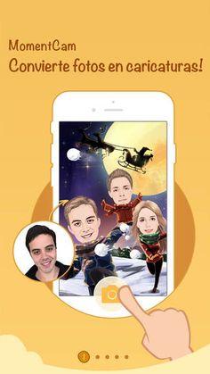 MomentCam: Carciaturas y emoticonos personalizados. Compartir en Facebook, Timeline. Genial par utilizarla con personajes de cuentos.