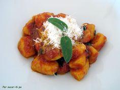 Gnocchi de calabaza con salsas al gusto