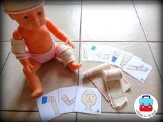 Verbandkaarten ( Jolien in de klas) De kleuters doen verband om het juiste lichaamsdeel die op de kaartjes staan bij een andere kleuter of bij een pop. Te koop bij Jolien in de klas