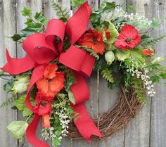 Poppy Wreath  Wreath for Spring and Summer   Red by HornsHandmade