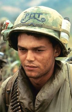 """Soldier carrying the name """"Patricia Ann"""" on his helmet as a reminder of the girl back home."""