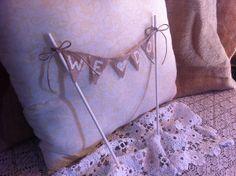 We Do Mini Burlap Bunting for Rustic Wedding by HandmadeWithHeartD