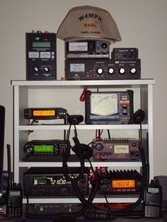 My current Ham Shack -- Covers all Amateur bands from 160 meters to 70 cm with UPS battery backup plus antenna testing capability on all bands.