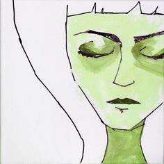 #illustration, #green, #face, #portrait, #drawing, #handdrawing