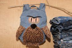 Owl backpack, light jeans backpack , upcycled denim birds bag , jeans kids toddler backpack , funy backpack , denim bag , childrens backpack by SecondBirthday on Etsy