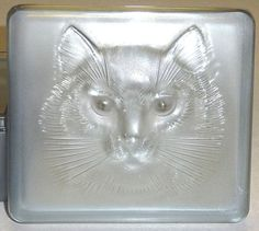 Lalique Glass Cat Masque Face Box 3 Labels MINT France by BlazeTwo