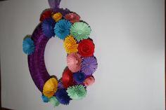 Coroa com flores papel