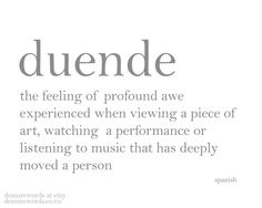 Logophile: Duende Typography Profound Awe From Art and Music by DemureWords