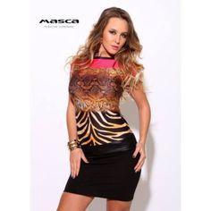 1da4cb307a Masca Fashion csónaknyakú, színátmenetes állatmintás rövid ujjú miniruha,  csípőjén műbőr betéttel