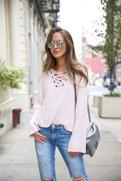 PINK SWEATER X RIPPED JEANS CHANEL SILVER BOY BAG WAVY HAIR ARIELLE SOMETHING NAVY X OUTFIT IDEAS FALL WINTER CASUAL FASHION IDEAS Goodnight Macaroon 'Fedora' Cross Cross Sweater