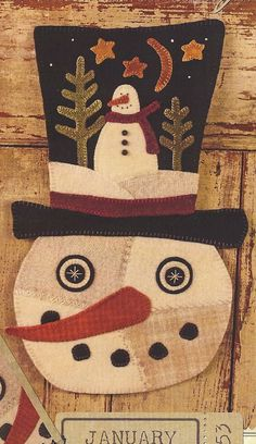 applique snowman pattern primitive | Primitive Folk Art Wool Applique Pattern | Penny Rugs...