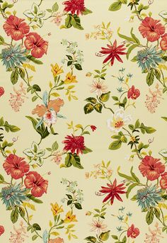 Fabric | Lanai Floral in Yellow | Schumacher