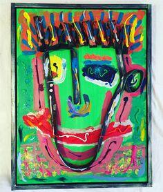 HAPPY TUBE MAN REDONE - 60 x 80, bicycle tube on wood, acrylic paint