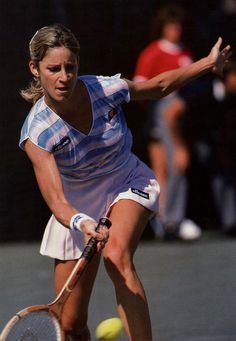 The great Chris Evert at the US Open in 1982,the year she won the last of her six Singles Championships.She's using a Wilson Chris Evert ProStaff racket.This was the stage in tennis when wood rackets were clearly on the way out.She switched to the graphite ProStaff Midsize in early 1984.