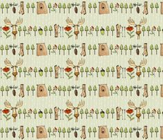 Woodland lineup fabric by mulberry_tree on Spoonflower - custom fabric