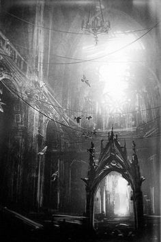 Writing prompt: A whisper came from this abandoned Gothic cathedral. Shhh, there it is again! Abandoned Churches, Old Churches, Abandoned Mansions, Abandoned Places, Spooky Places, Haunted Places, Beautiful Buildings, Beautiful Places, Gothic Cathedral