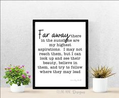 Printable quote, Printable poster, Wall art, Wall decor, Office wall decor, Gift, Inspirational, Far away by FelineNineDesigns on Etsy Office Wall Decor, Office Walls, Wall Art Decor, Speech Room, Online Print Shop, Printable Quotes, Poster Wall, Far Away, Marketing And Advertising