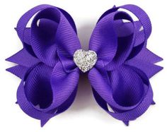 Girls Hair Bow ~ Purple Boutique Hair Bow with Sparkly Heart for Formal, Wedding, Birthday Events ~ Cute Back to School Gift for Girls