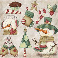 Frosty Christmas 1 Clip Art Set