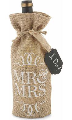 Mud Pie Mr. and Mrs. Burlap Wine Bag Best Price