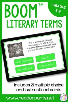 Get your middle school English class learning and practicing important literary terms! This Boom cards deck contains 21 cards and reviews and explains 14 common literary devices.  #englishlanguagearts #literarydevices #distancelearning Middle School Ela, Middle School English, English Class, Literary Terms, Literary Elements, 21 Cards, Task Cards, Teaching Techniques, School Librarian