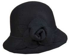 93e398a85aa Black Pure Wool Bucket Style Cloche Hat With Flower Newsboy Cap