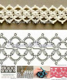 Tagged with free crochet diagram patterns, easy filet crochet patterns, crochet ideas, free crochet diagram patterns. Beau Crochet, Crochet Diy, Crochet Amigurumi, Crochet Motifs, Crochet Borders, Crochet Diagram, Crochet Chart, Irish Crochet, Crochet Stitches