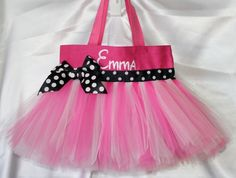 Personalized Minnie Mouse Inspired Tutu Tote Bag-minnie mouse birthday outfit, mickey mouse, tutu, tote bag, Disney, personalized