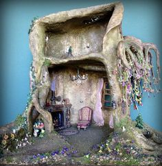 My dollhouse miniature tree trunk weeping cherry bonsai fairy house. On Etsy $2400