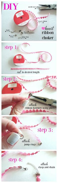 Necklaces Diy DIY Heart Ribbon Choker Necklace - A cheap and easy DIY choker necklace that you could customize for any occassion Chocker Necklace, Diy Necklace, Chokers, Choker Jewelry, Bead Jewelry, Simple Jewelry, Diy Crafts Jewelry, Handmade Jewelry, Diy Chockers