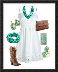 Cute sundress - needs flat boots and ditch all the jewlery :)