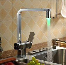 Modern LED Chrome Brass Kitchen Sink Faucet Swivel Spout Mixer Tap Deck Mounted